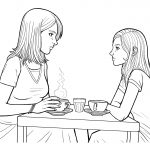 mom and daughter talking at table